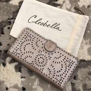 Cleobella silver leather clutch